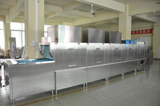 China SS Restaurant Kitchen Dishwasher , Automatic Dishwashing Machine 36kw Rinse Heater supplier
