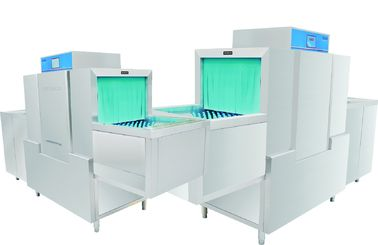 China Central kitchen High Temperature Commercial Dishwasher 11KW / 47KW Dispenser inside supplier