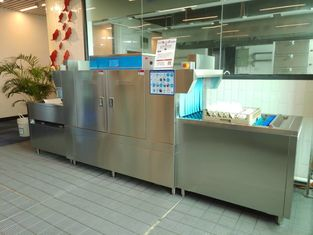China 180L Kitchen Plates Washing Machine , Commercial Dishwasher For Coffee Shop 59KW supplier