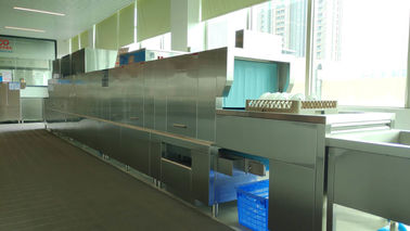 China Stainless Steel Flight Type Dishwasher For Central Kitchen 5000-8000 Pcs Dishes supplier