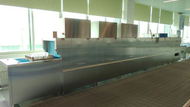China Steel Small Commercial Dishwasher / Triple Tanks Restaurant Dishwasher Machine supplier