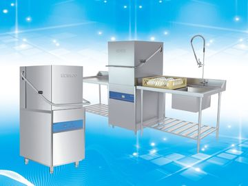 China Polished Surface Hood Type Dishwasher With Rinse Temperature Control System supplier