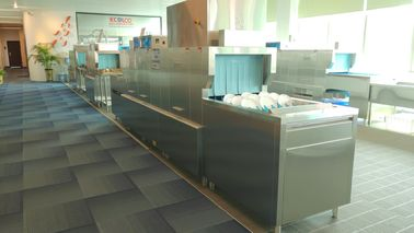 China Fully Cleaning Flight Type Dishwasher For Staff Canteens CE Certificate supplier