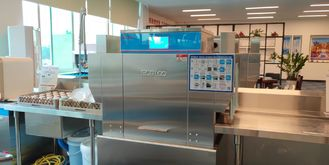 China Accurate Commercial Conveyor Dishwasher , LED Display Three Rack Dishwasher supplier